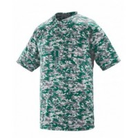 1555 - Adult Polyester Digi Print Two-Button Short-Sleeve Jersey