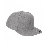6689 - Adult 6-Panel Melton Wool Structured Flat Visor Classic Snapback Cap