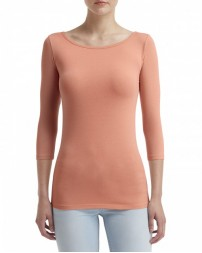 2455L Ladies' Stretch 3/4 Sleeve T-Shirt - Anvil Womens T Shirts