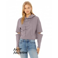 Fast Fashion Ladies' Cut Out Fleece Hoodie