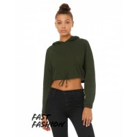 Fast Fashion Ladies' Cinched Cropped Hooded T-Shirt