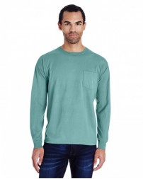 GDH250 Unisex 5.5 oz., 100% Ringspun Cotton Garment-Dyed Long-Sleeve T-Shirt with Pocket - ComfortWash by Hanes Cotton T Shirts