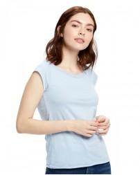 US180 Ladies' 3.8 oz. Cap Sleeve Raw Edge Open Neck - US Blanks Womens T Shirts